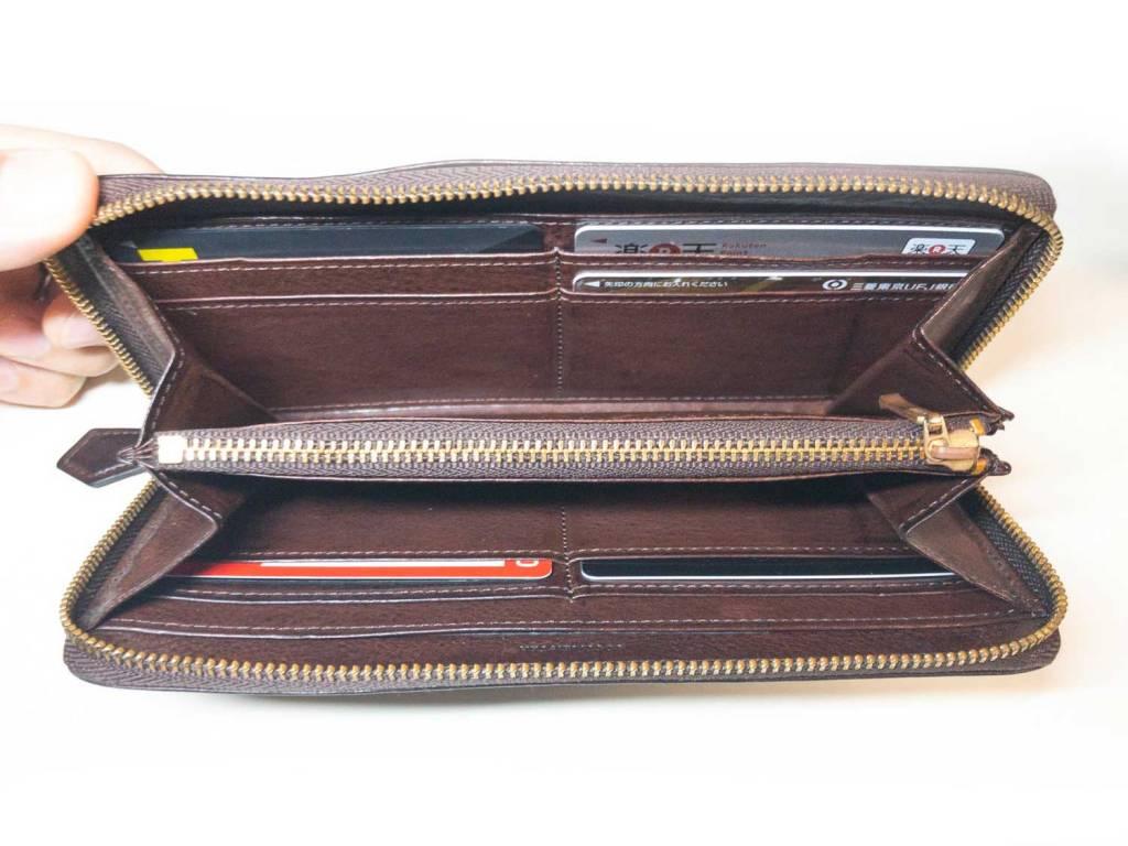 ココマイスター(COCOMEISTER)の革財布マルティーニシリーズは中身もシンプルな構成