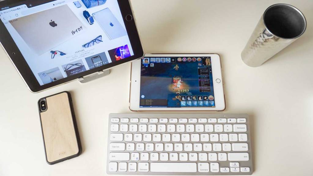 iPad mini 5とiPad9.7とBluetoothキーボードとiPhoneX