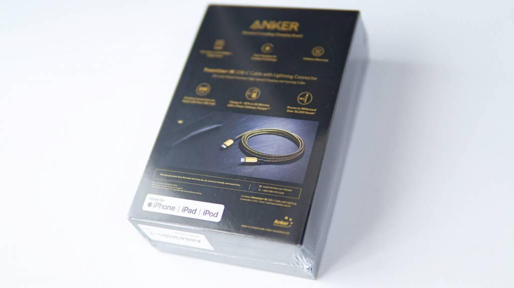 金のAnker PowerLine+ III USB-C & Lightningケーブルパッケージ裏面