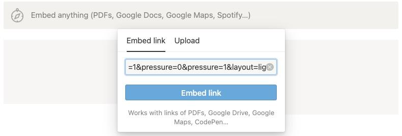 Notion で Embed 選択後、URLをペースト