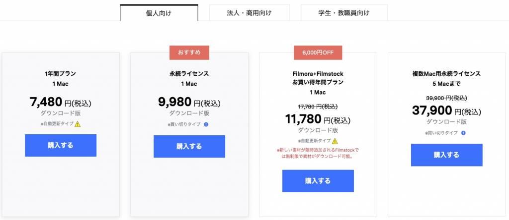 動画編集ソフトWondershare Filmore X Mac版の価格表