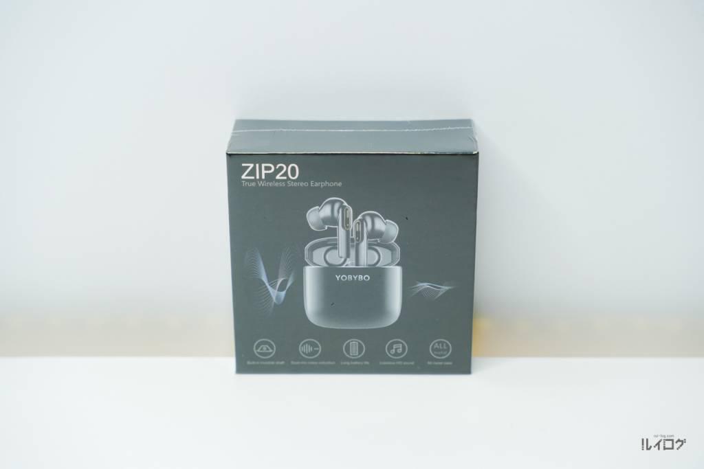 """完全ワイヤレスイヤホンYOBYBO""""ZIP20""""のパッケージ"""