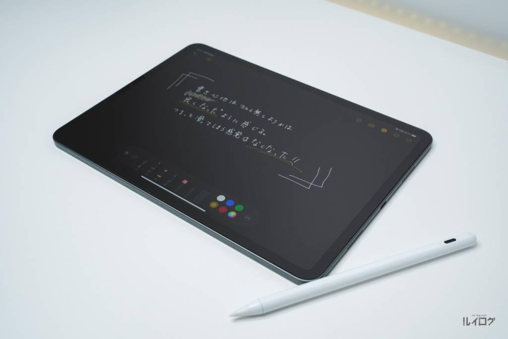 """NIMASO""""アンチグレア""""ガラスフィルムをiPadPro11(第3世代)に貼り付けた状態"""