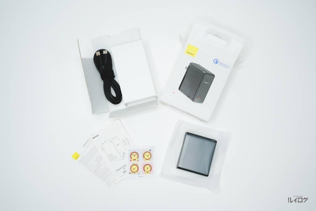 QC5.0搭載充電器BaseusCCGAN100CSの同梱物