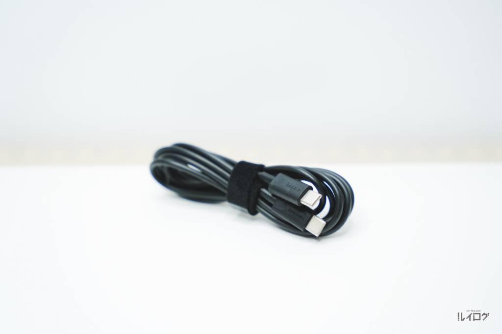 QC5.0搭載充電器BaseusCCGAN100CS付属のUSB-CtoCケーブル