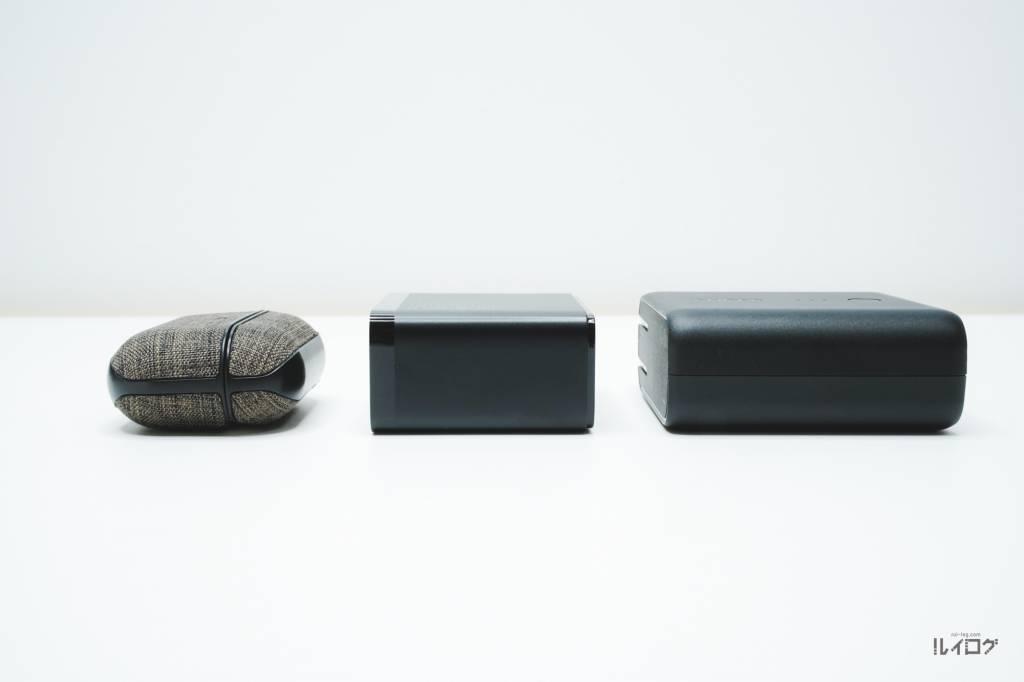 QC5.0搭載充電器BaseusCCGAN100CSのサイズ比較