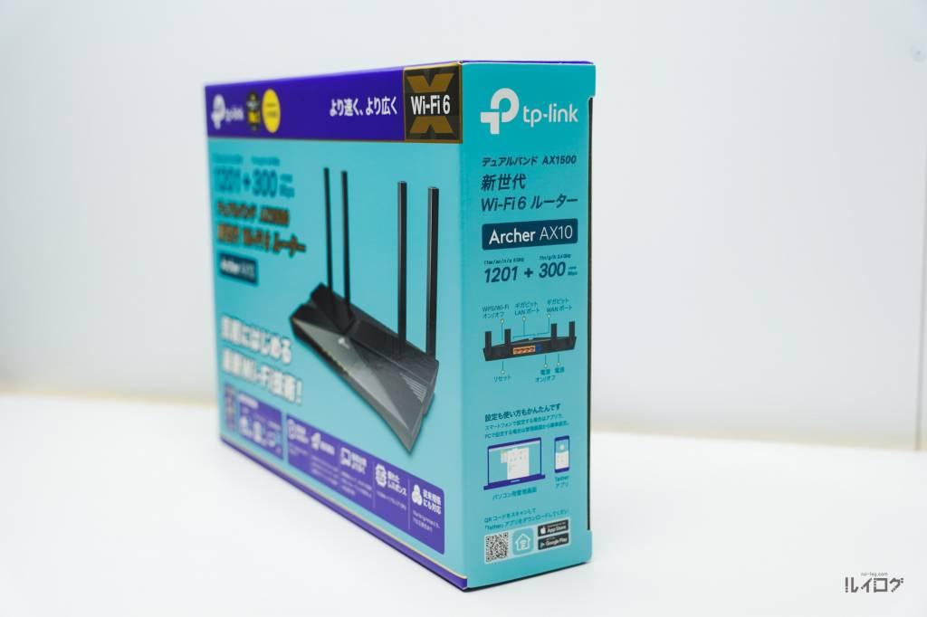Wi-Fi6ルーターTP-Link Archer AX10のパッケージ側面