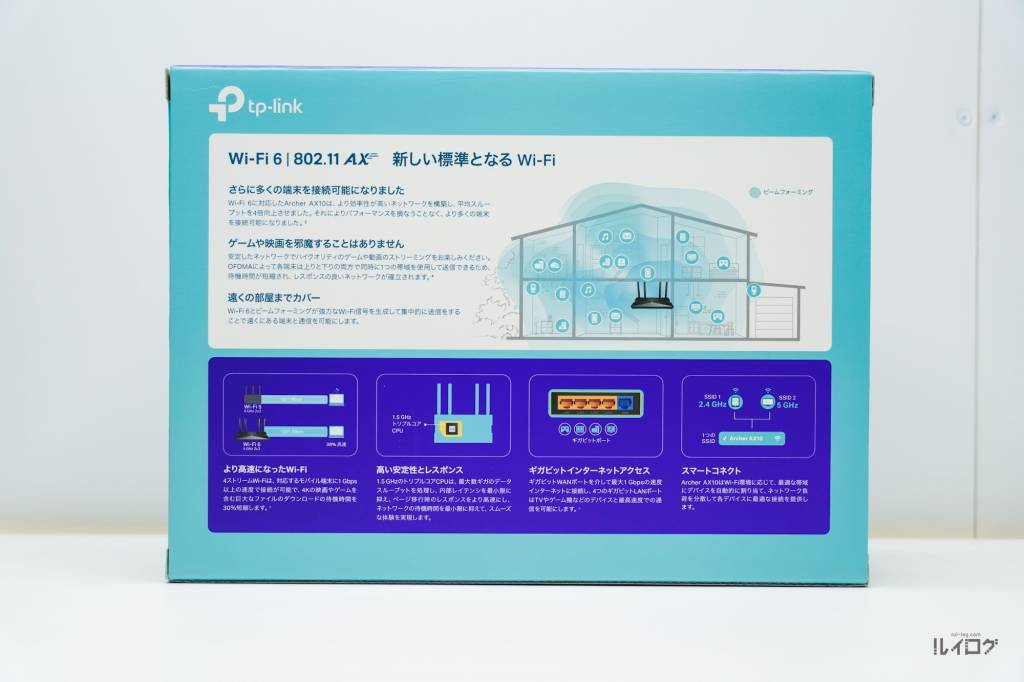 Wi-Fi6ルーターTP-Link Archer AX10のパッケージ裏面