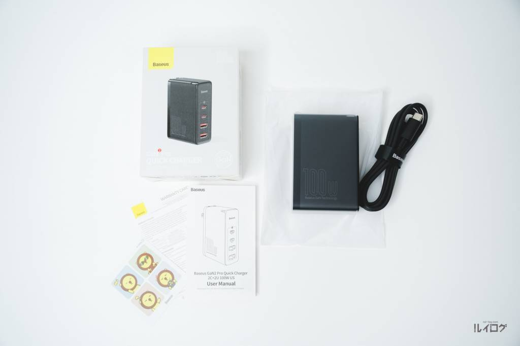 Baseus100W4ポート急速充電器CCGAN100USの同梱物