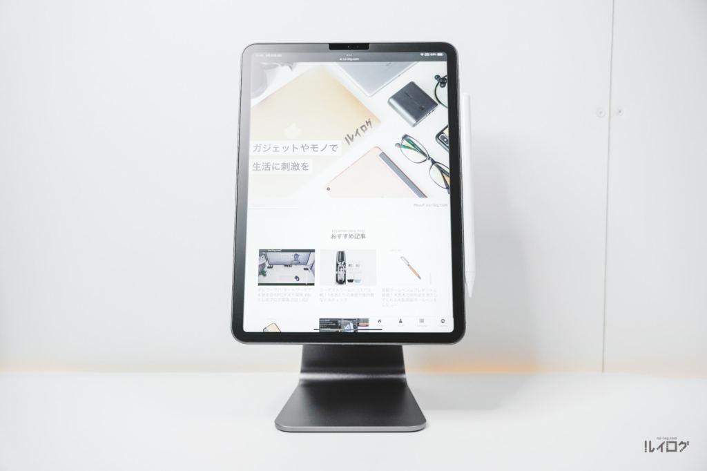 Magnetic iPad StandにiPadPro11をくっつけて縦向き表示