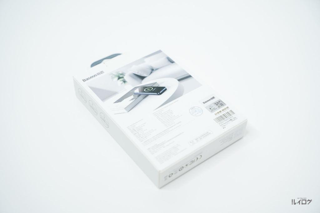 Baseusワイヤレス充電対応モバイルバッテリーのパッケージ裏面