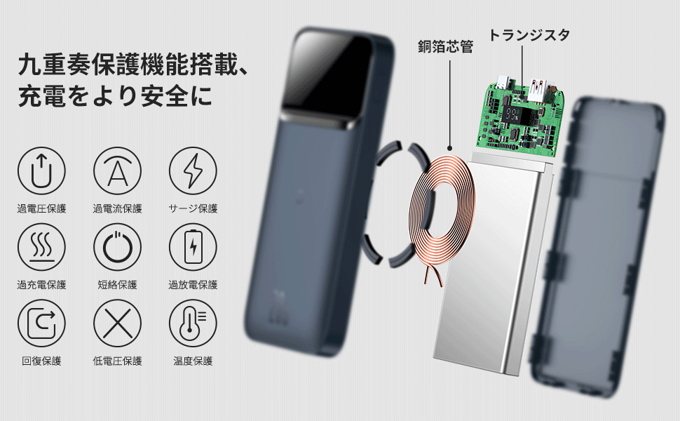 Baseusワイヤレス充電対応モバイルバッテリー